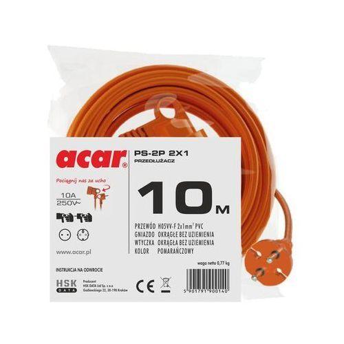 Hsk data przedłużacz ogrodowy acar ps-2p 2x1 10m pomarańczowy (5901791900140)