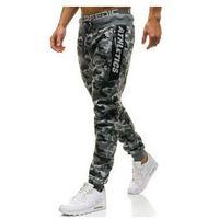 Spodnie męskie dresowe joggery moro-szare Denley QN267, dresowe