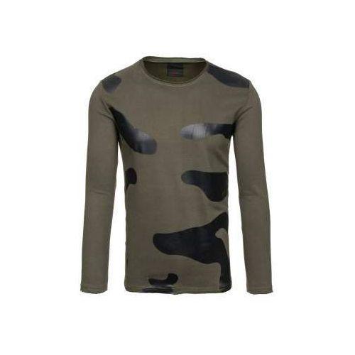 Bluza męska bez kaptura z nadrukiem zielona Denley 9081, kolor zielony