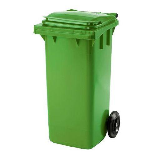 Kosz na śmieci henry, na kółkach, 930x480x555 mm, 120 l, zielony marki Aj produkty