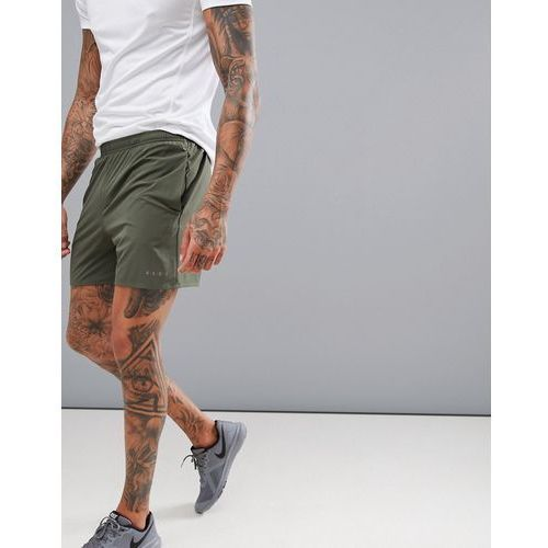 training short in mid length with quick dry in khaki - green marki Asos 4505