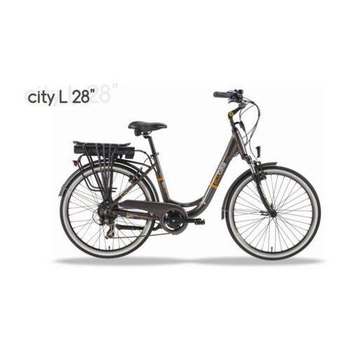 Rower elektryczny city l 28'', bateria: 36v / 6,6 ah headway + zabezpieczenie kryptonite marki Ecobike