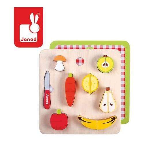 Warzywa i owoce - zestaw do krojenia drewniany magnetyczny - zabawki dla dzieci marki Janod