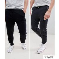 design skinny joggers 2 pack black/charcoal save - multi marki Asos