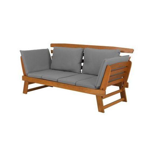 Sofa ogrodowa drewniana jasnobrązowa regulowane podłokietniki PORTICI (4251682203579)