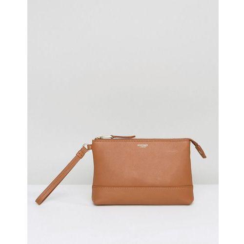 leather powered mini clutch bag - tan marki Knomo