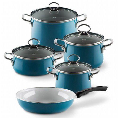Riess emaille 5cz. aquamarin- zestaw garnków, bez niklu, indukcja, niebieski (9003064100434)
