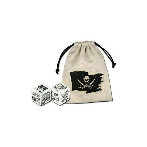 OKAZJA - Kości pirackie biało-czarne k6 + sakiewka marki Q-workshop