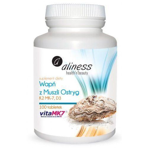 Wapń z muszli ostryg z witaminami K2 MK7 oraz D3 - 100 tabletek Aliness (Witaminy i minerały)