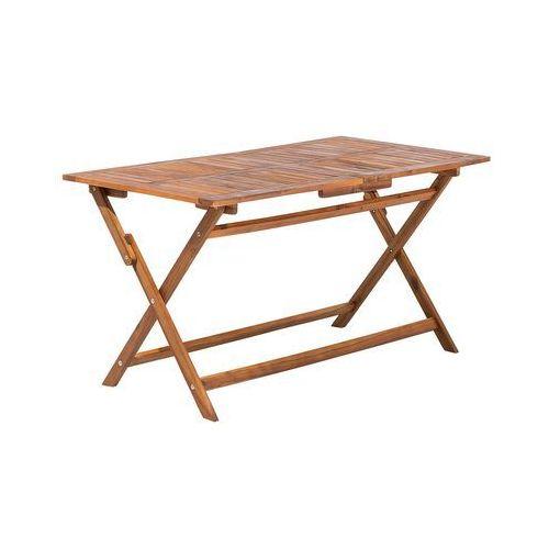 Beliani Stół ogrodowy drewniany 140 x 75 cm cento