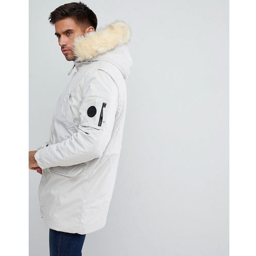 River Island Coat With Borg Lined Hood In Stone - White