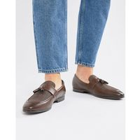 River island loafers in brown with check detail - brown