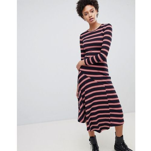 Stradivarius Stripe Ribbed Midi Dress - Navy, w 2 rozmiarach