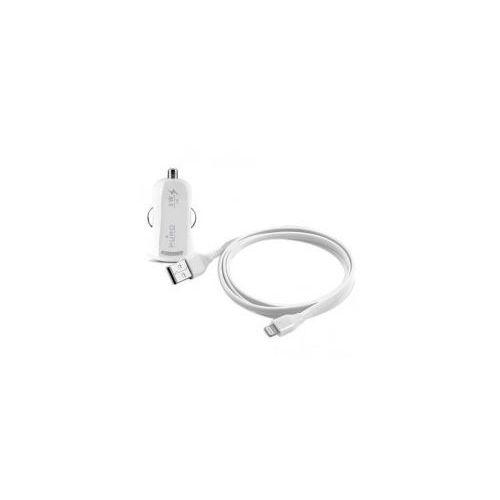 PURO Mini ładowarka samochodowa Apple 1A z płaskim, odpinanym kablem Lightning MFI (biały) Odbiór osobisty w ponad 40 miastach lub kurier 24h (8033830103124)