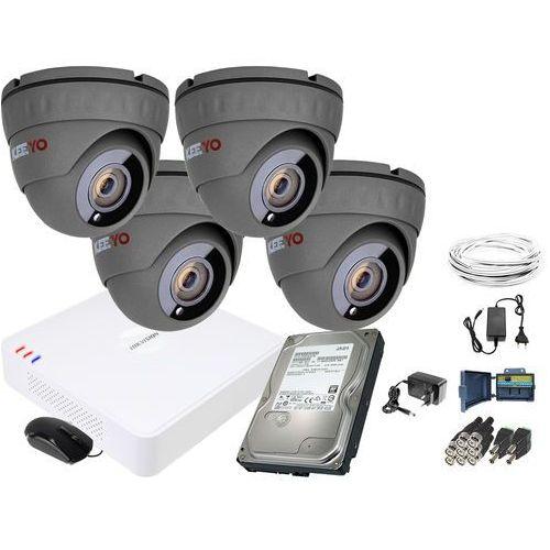 Keeyo Zm11841 zestaw do monitoringu 4 kamery ir 25m rejestrator hikvision fullhd dysk 1tb