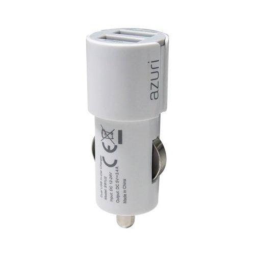 Ładowarka AZURI samochodowa 3.4A, 2 USB, biała (AZPCHEAD2USBDUOWHT) Darmowy odbiór w 20 miastach!