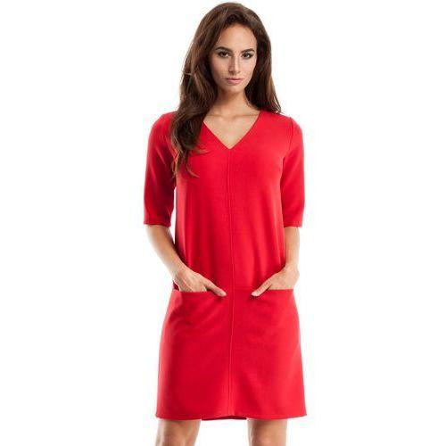Czerwona Sukienka w Serek z Kieszeniami, E250re