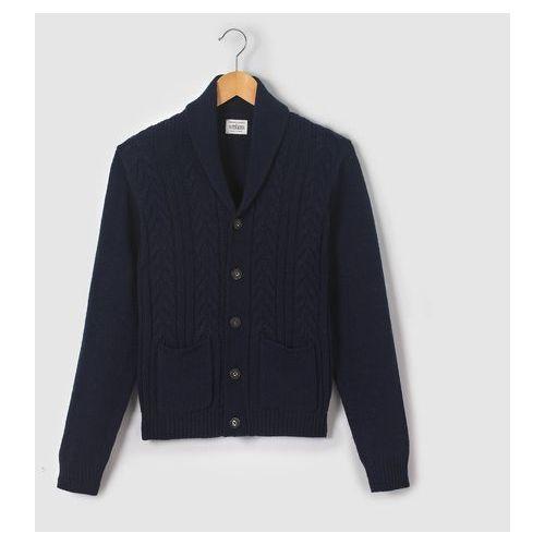 Rozpinany sweter z szalowym kołnierzem z dzianiny w warkocze, 10-16 lat, kup u jednego z partnerów
