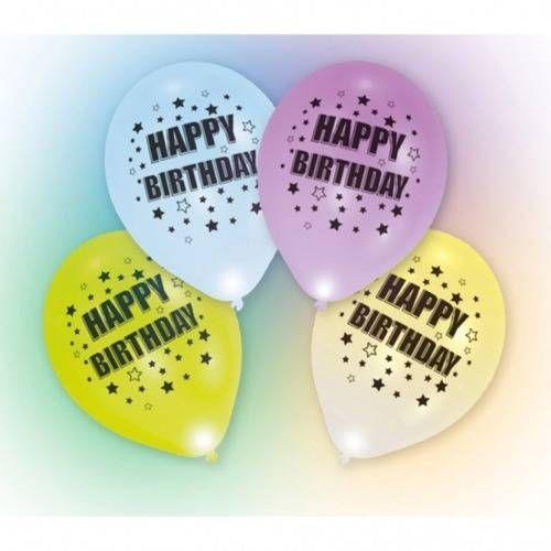 Amscan Balony lateksowe happy birthday świecące w różnych kolorach - 27,5 cm - 4 szt.