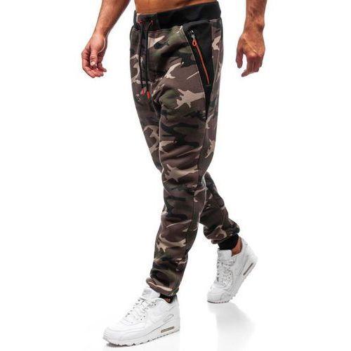 Spodnie męskie dresowe joggery moro khaki Denley TC874, dresowe