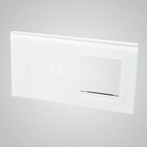 TouchMe Duży panel szklany, 1 x łącznik podwójny, 1 x ramka, biały TM702728W