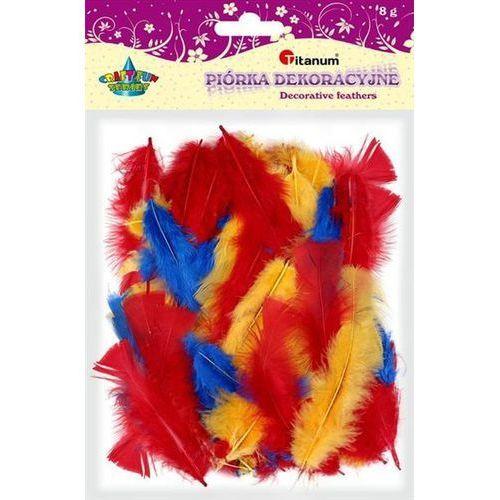 Kolorowe pióra dekoracyjne, 8g mix, craft-fun - żółte+niebieskie+czerwone marki Titanum