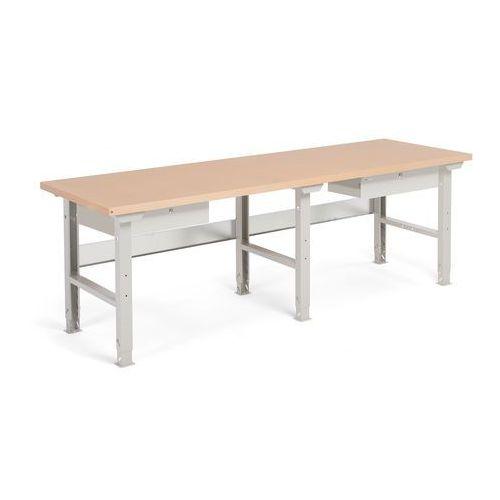 Stół warsztatowy ROBUST, z regulacją wysokości, 2 szuflady, 800x2500 mm, 232115