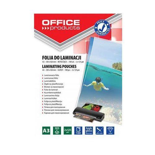Folia do laminowania OFFICE PRODUCTS, A3, 2x125mikr., błyszcząca, 100szt., transparentna