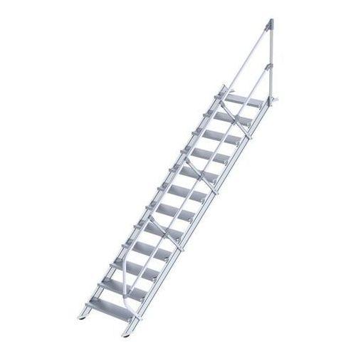 Schody przemysłowe, stopnie z aluminium, szer. stopnia 800 mm, 12 stopni. Stosow
