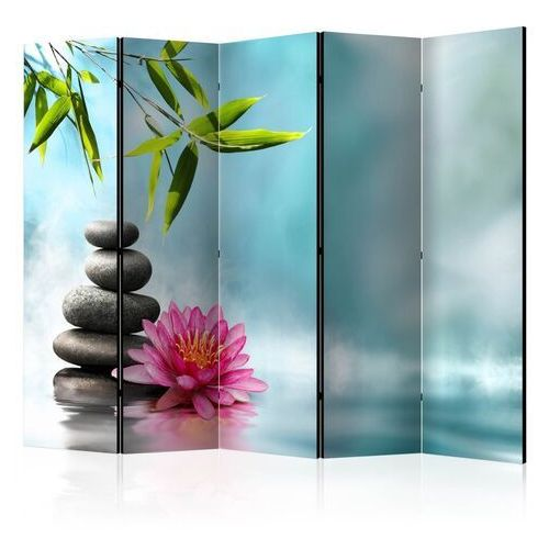 Parawan 5-częściowy - lilia wodna i kamienie spa ii [parawan]