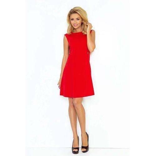 Czerwona Sukienka Trapezowa Mini bez Rękawów, kolor czerwony