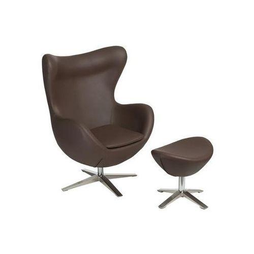 D2.design Fotel jajo szeroki z podn. sk. eko 524 brązowy (5902385723183)