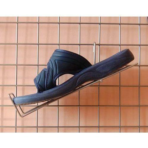 Uchwyt na kratę, metalowy do prezentacji obuwia itp. - lewy, w kolorze srebrnym