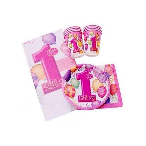 Unique Zestaw na roczek dla dziewczynki 1st girl birthday baloniki pink - 25 elementów