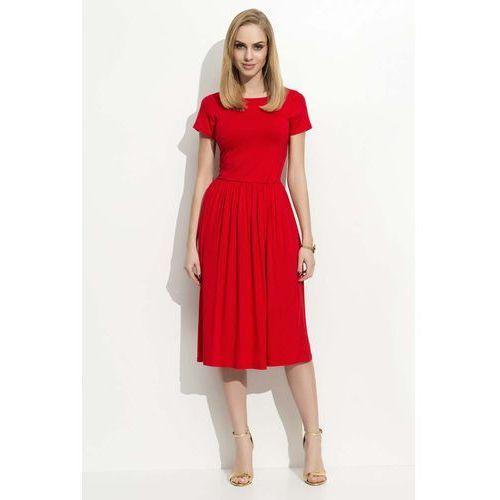 Makadamia Czerwona sukienka klasyczna rozkloszowana z krótkim rękawem