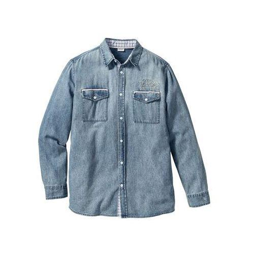 Koszula dżinsowa z długim rękawem Regular Fit bonprix jasnoniebieski, kolor niebieski