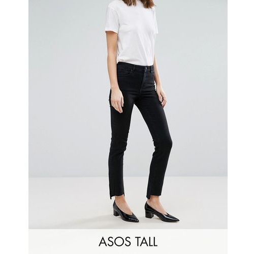 ASOS TALL CASTILE Pencil Straight Leg Jeans in Washed Black with Stepped Hem - Black
