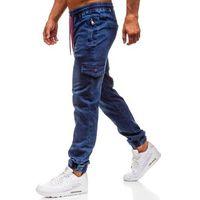 Spodnie jeansowe joggery męskie granatowe denley y272b, Red fireball