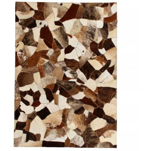 dywan ze skóry bydlęcej, patchwork, 80x150 cm, brązowo-biały marki Vidaxl
