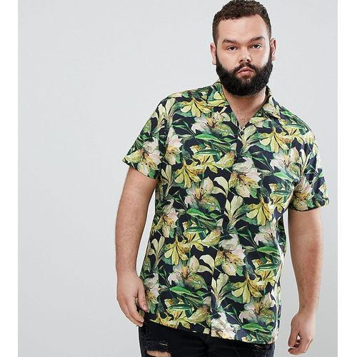 plus skinny smart revere collar hawaiian shirt - yellow, Heart & dagger, XXL-XXXXL