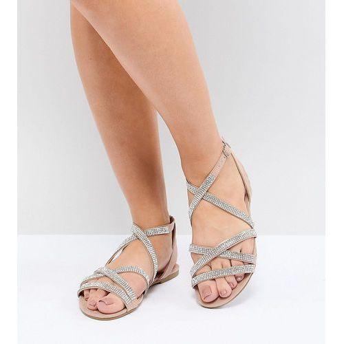 wide fit suedette embellished strappy flat sandal - beige marki New look