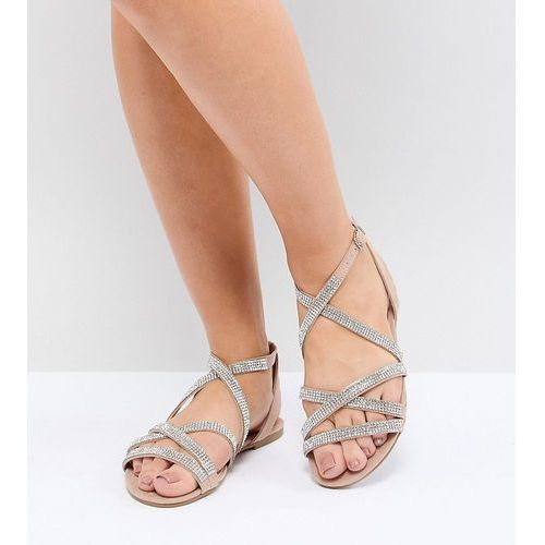 wide fit suedette embellished strappy flat sandal - beige, New look