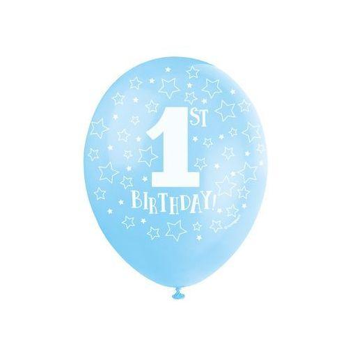 Balony błękitne na roczek z cyferką 1 - 30 cm - 5 szt