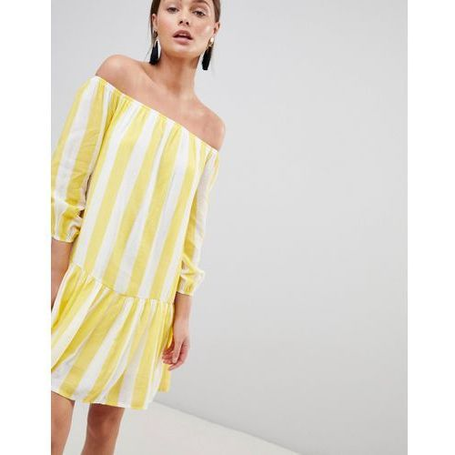Parisian Off Shoulder Stripe Swing Dress - Yellow