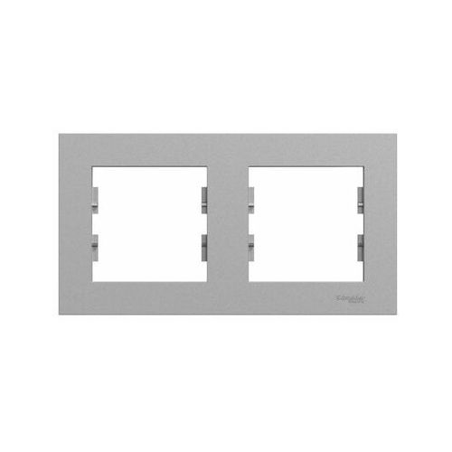 Schneider electric Ramka podwójna pozioma miluz ed aluminium (3606481921475)