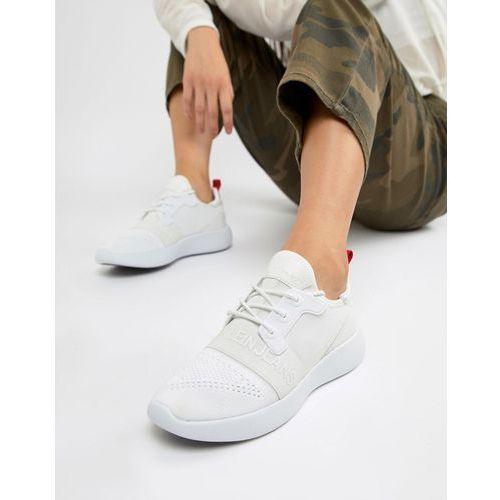 meryl knit white logo trainers - white, Calvin klein
