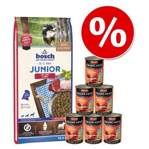 11,5 kg / 15 kg Bosch Junior + Animonda GranCarno Junior, Wołowina i kurczak, 6 x 400 g - Junior Lamb & Rice, jagnięcina i ryż, 15 kg  Dostawa GRATIS + promocje  -5% Rabat dla nowych klientów