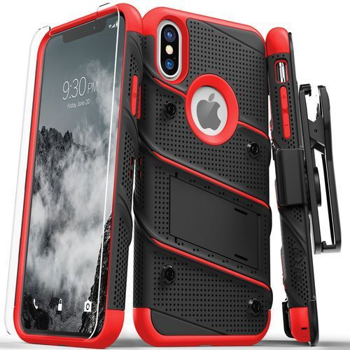 bolt cover etui pancerne iphone xs / x (black/red) + szkło hartowane na ekran marki Zizo