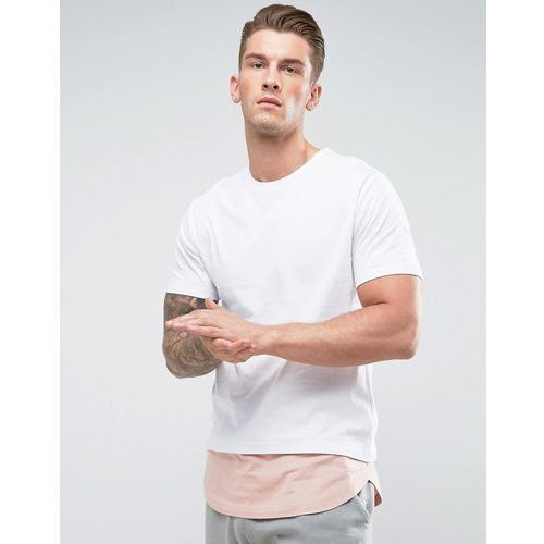 Only & Sons Longline T-Shirt with Cut and Sew Contrast Hem - White, w 2 rozmiarach