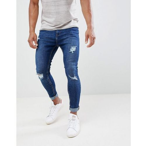 Bershka Super Skinny Jeans With Rips In Dark Blue - Blue, kolor niebieski